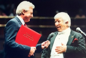 "October 9, 2002 Surprise visit from ""This is Your Life"" host, Michael Aspel, at the conclusion of  Bernstein's Royal Albert Hall concert performance"