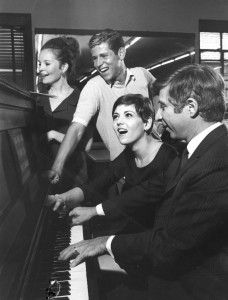 """1967 Backstage at the Lunt-Fontanne Theatre With Brenda Vaccaro and Tony Roberts for the Broadway production of """"How Now Dow Jones"""""""